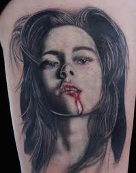 Awesome Female Vampire Portrait Tattoo