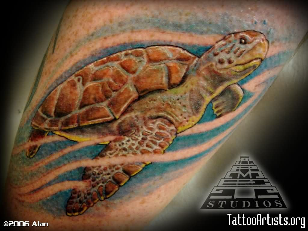 Awesome Swimming Turtle Tattoo