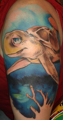Awesomoe Half Sleeve Sea Turtle Tattoo