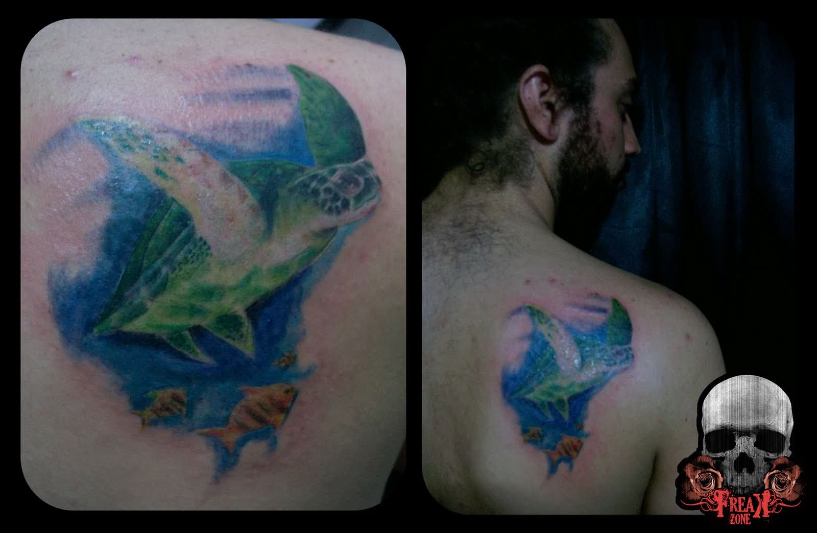 Back Shoulder Swimming Turtle Tattoos