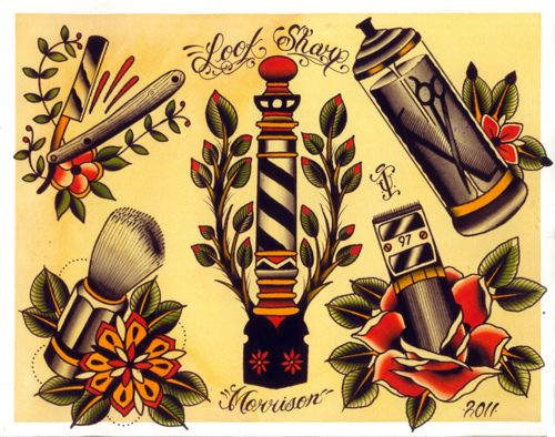 Barber Shop Traditional Tattoo Designs