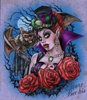 Bat Vampire Girl And Roses Tattoo Flash