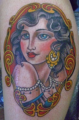 Beautiful Traditional Lady Tattoo