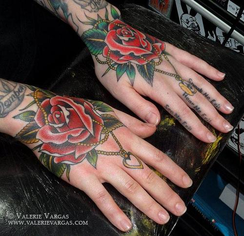 Beautiful Traditional Roses Tattoos On Hands