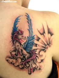 Beautiful Winged Unicorn Tattoo On Back Shoulder
