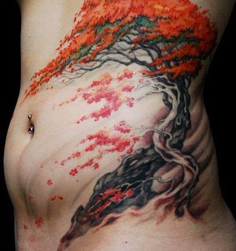 Belly Button Piercing And Tree Tattoos For Girls