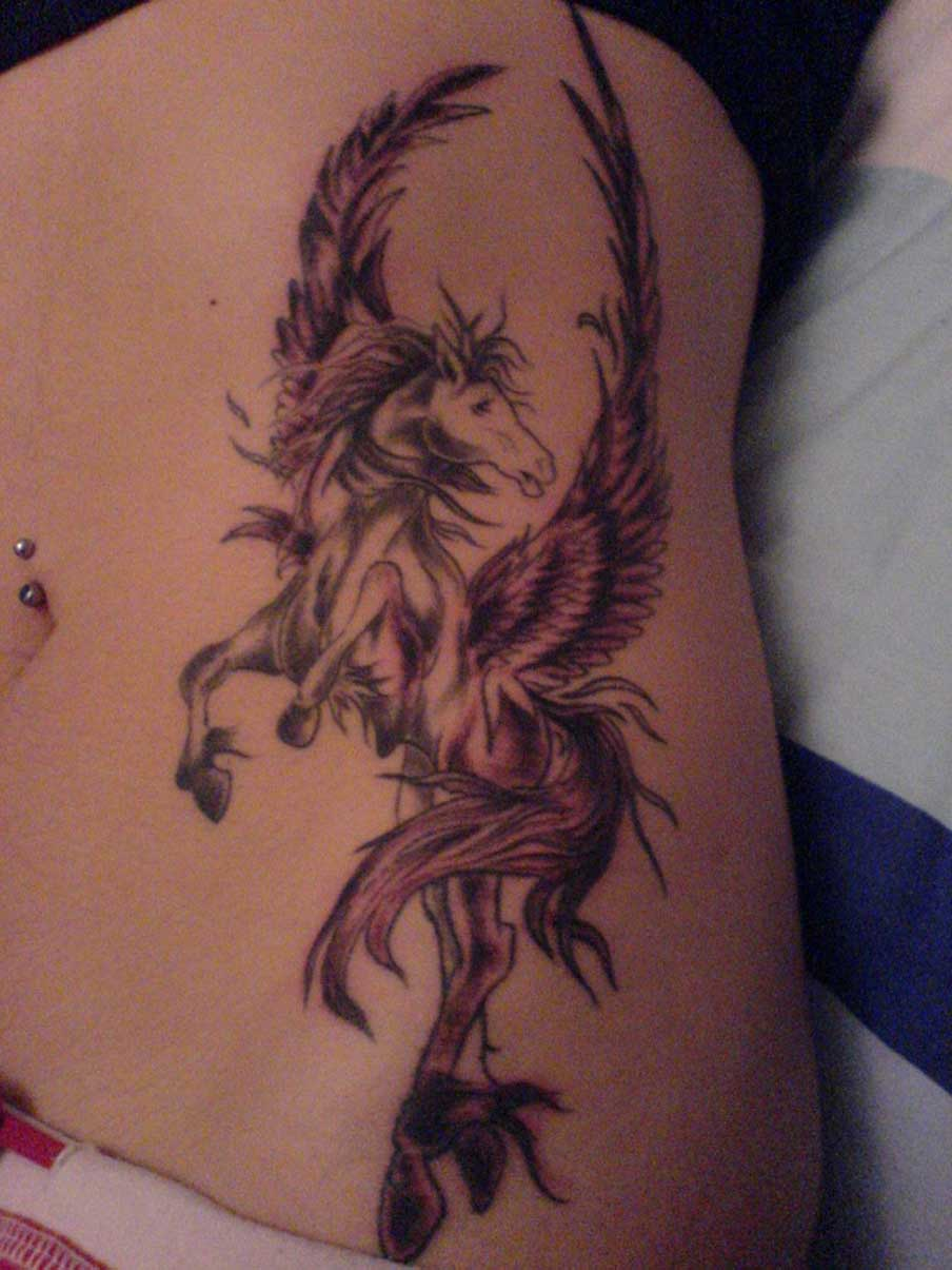 Belly Button Piercing And Winged Unicorn Tattoo For Girls
