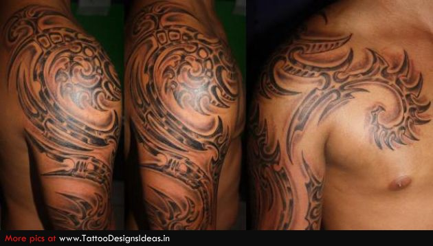 Biomech Tribal Half Sleeve Tattoos For Men