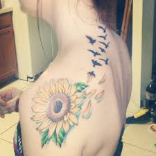 Birds Flying From Sunflower Tattoo On Back Shoulder