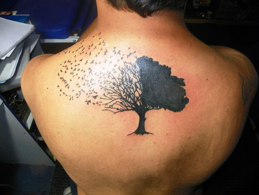 Birds Flying From Tree Tatoo On Upper Back