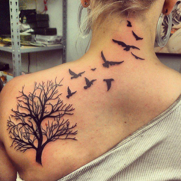 Birds Flying From Tree Tattoo For Girls