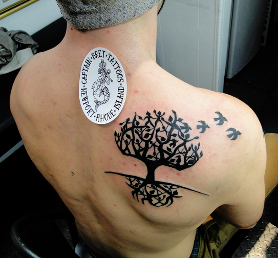 Birds Flying From Tree Tattoo On Back Shoulder