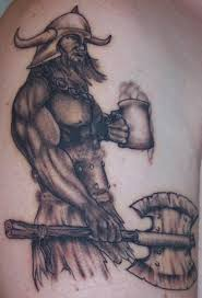 Black And Grey Ink Viking Warrior tattoo