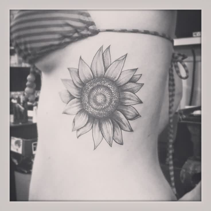 Black And White Sunflower Tattoo On Ribs