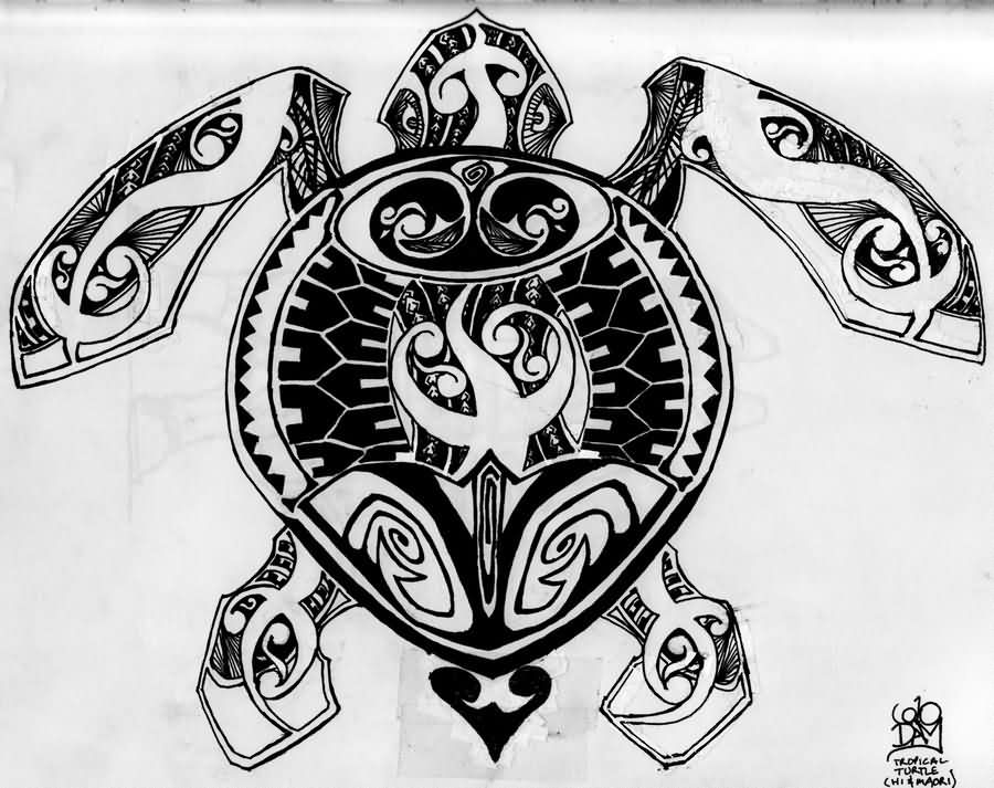 Black And White Turtle Tattoo Pattern