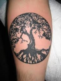 Black Ink Celtic Tree Of Life Tattoo For Arm