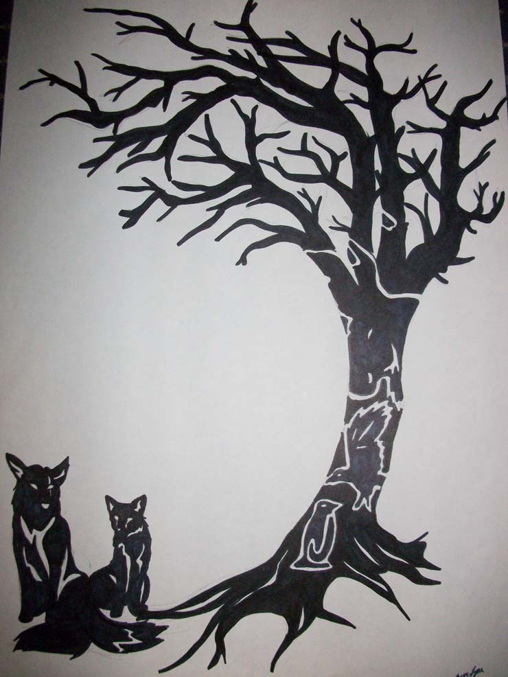 Black Ink Family Tree And Wolves Tattoo Print