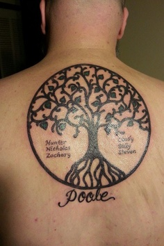 Black Ink Tree Of Life Tattoo For Upper Back