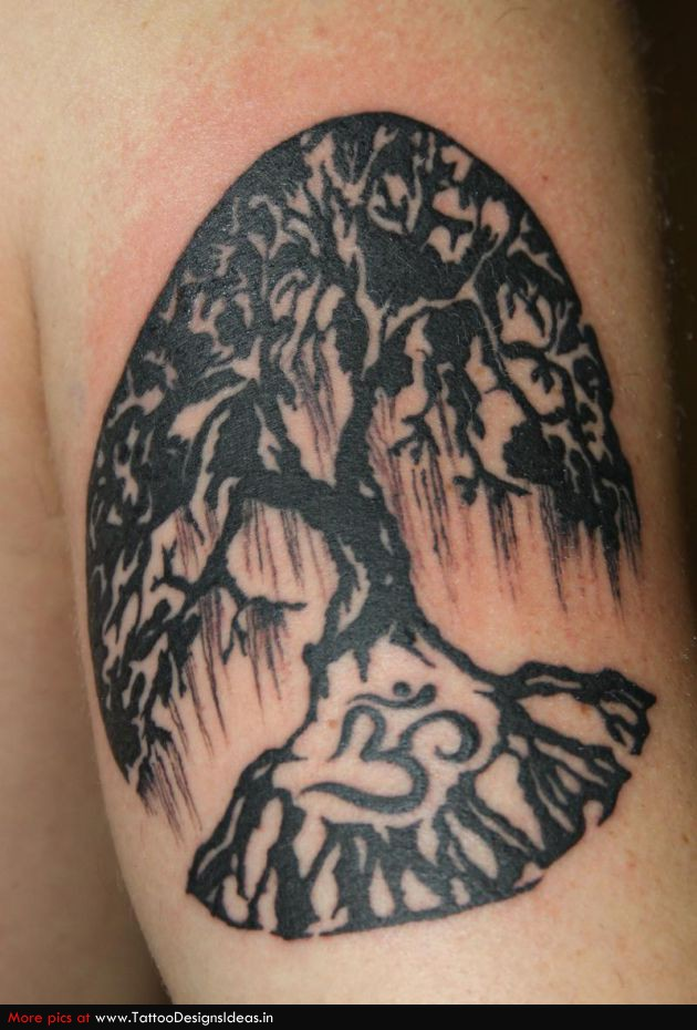 Black Ink Tree Of Life Tattoo
