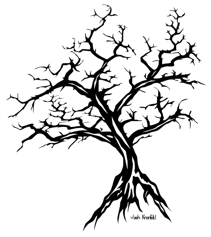 Black Ink Tree Tattoo Stencil