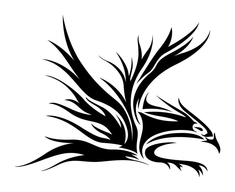 Black Ink Tribal Eagle Tattoo Sample