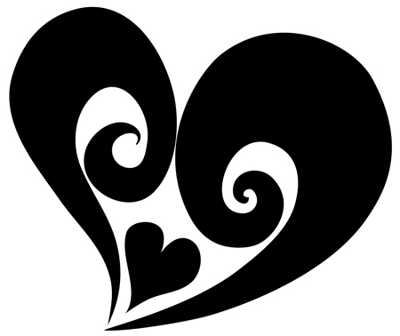 Black Ink Tribal Heart Tattoo Stencil