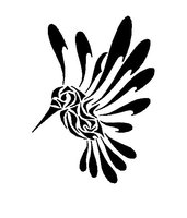 Black Ink Tribal Hummingbird Tattoo Stencil