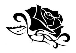 Black Ink Tribal Rose Tattoo Stencil