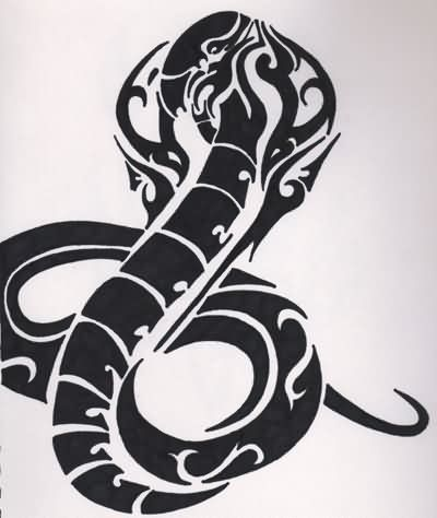 Black Ink Tribal Snake Tattoo Design