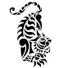 Black Ink Tribal Tiger Tattoo Stencil