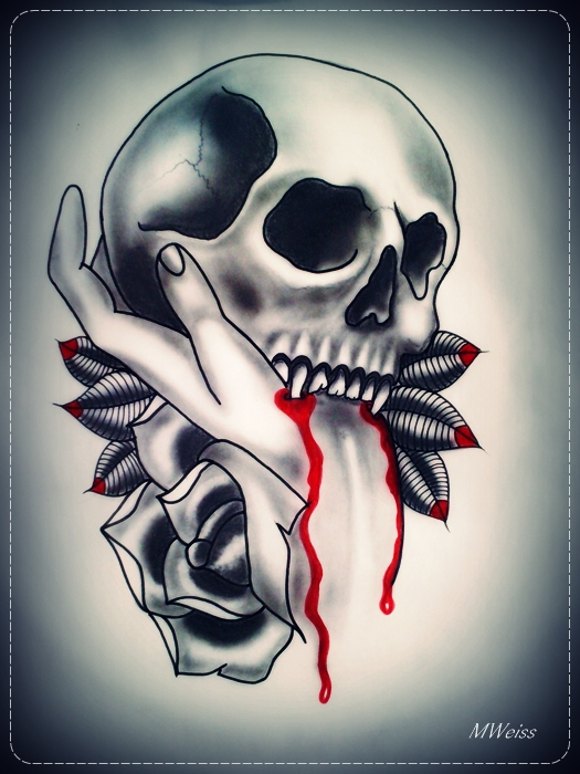 Bleeding Vampire Skull And Roses Tattoos Print