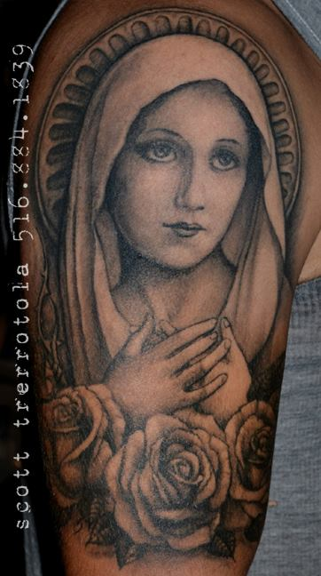 Blessed Mother Mary Tattoo On Half Sleeve