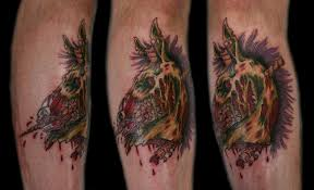 Bloody Zombie Unicorn Tattoos