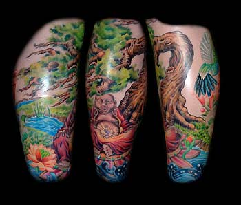 Buddha Tree Sleeve Tattoos