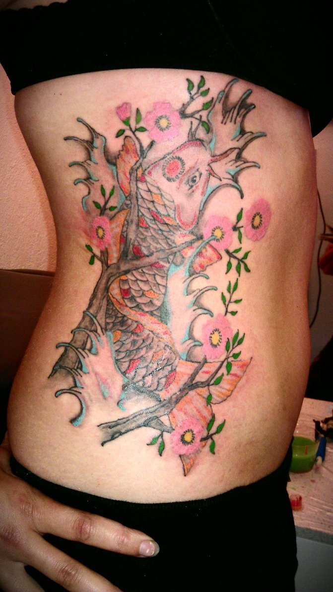 Cherry Blossom Tree And Koi Tattoos On Ribs