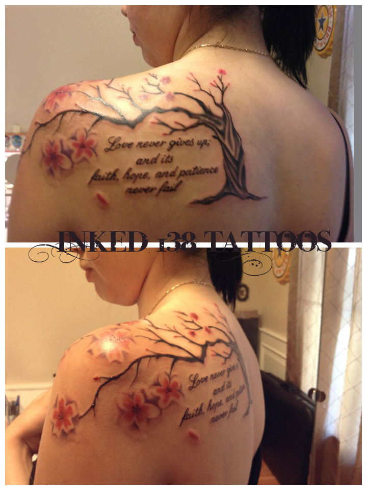 Cherry Blossom Tree And Wording Tattoos