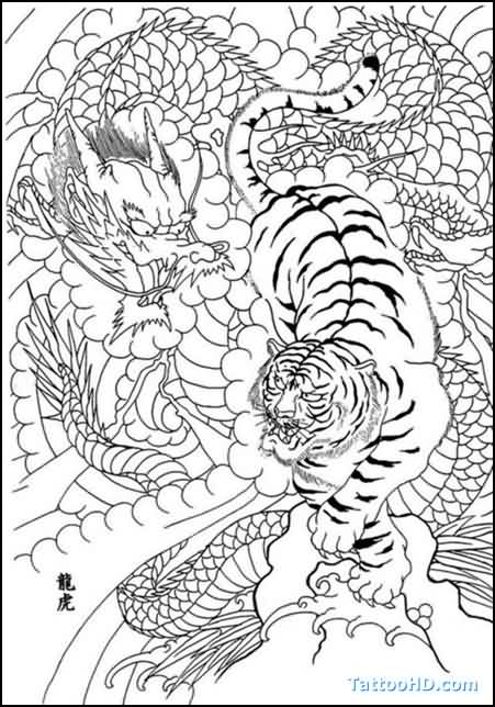 Chinese Dragon And Tiger Outline Tattoo Designs