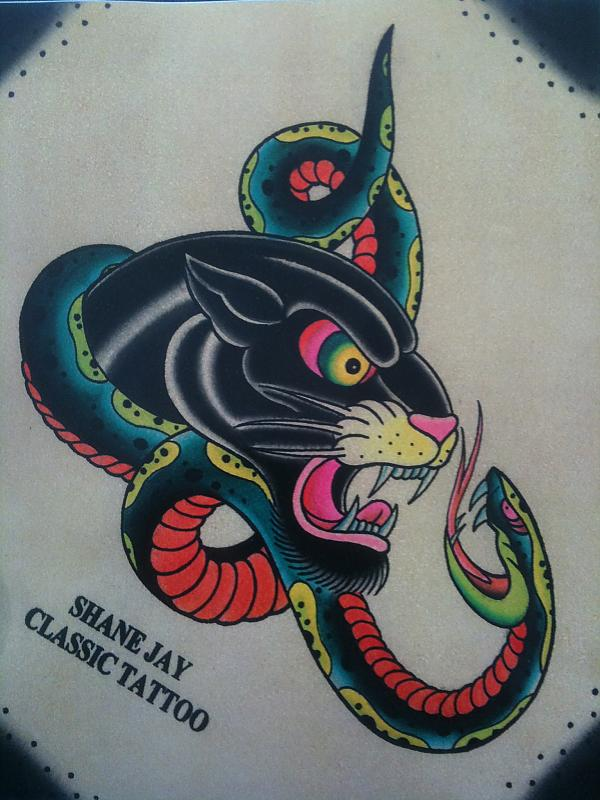Classic Traditonal Panther And Snake Tattoo Designs