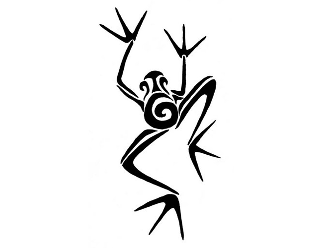 Climbing Tribal Frog Tattoo Design