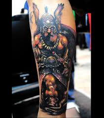 Color Viking Warrior Tattoo For Leg
