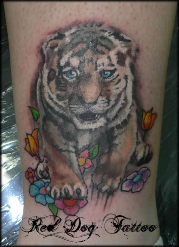 Colored Flowers And Tiger Tattoos