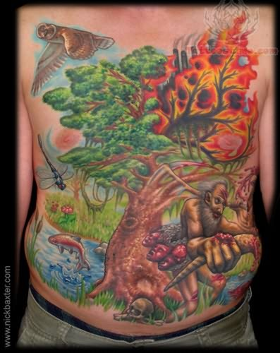 Colorful Burning Tree Tattoo On Front Upper Body