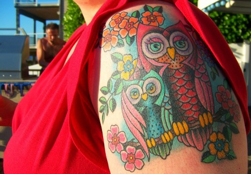 Colorful Mother And Sun Owl Tattoos On Shoulder