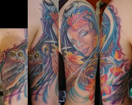 Colorful Mother Earth Sleeve Tattoos