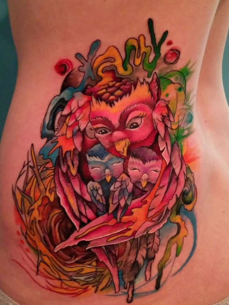 Colorful Mother Owl And Sons Tattoos On Waist