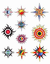 Colorful Sun Tattoos Sheet