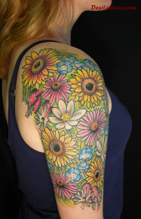 Colorful Sunflower Tattoos On Right Half Sleeve