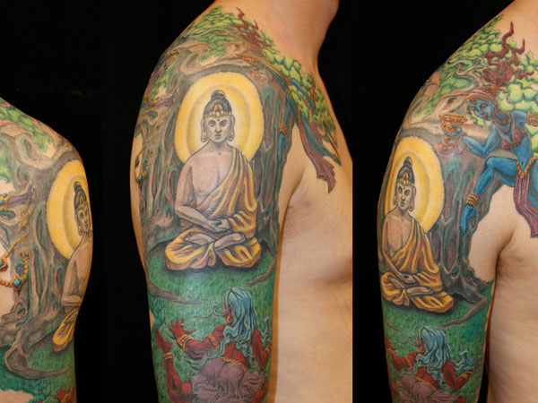 Colorink Buddha Tree Sleeve Tattoos