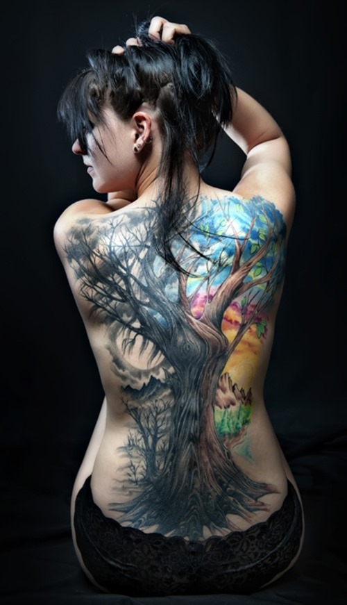 Cool Full Back Tree Tattoo For Girls