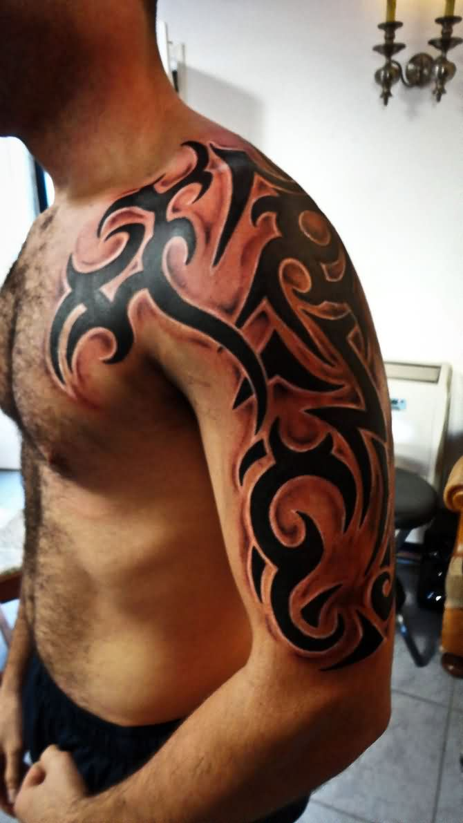Cool Tribal Tattoo On Half Sleeve For Men